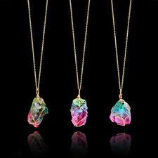 New Rainbow Stone Necklace Natural Crystal Chakra Rock Quartz Pendant
