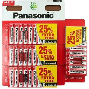 40 x AAA PANASONIC Genuine Zinc Carbon Batteries - New LR03 1.5V FRESH STOCK