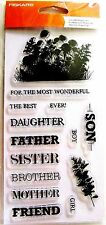 Celebrate Family Words Sentiments Clear Acrylic Stamp Set by Fiskars NEW!