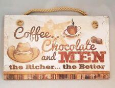 "Coffee Chocolate Men Cowgirl Sign Wall Art Decor 9.5""x5.5"" Gift"