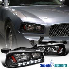 For 2006-2010 Dodge Charger Black LED DRL Headlights Corner Signal Lights