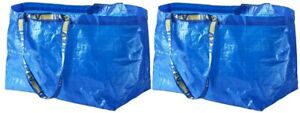 2 NEW IKEA FRAKTA Large Blue Reusable 19-Gallon Tote Bag