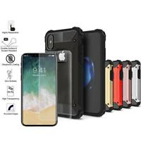 For iPhone X / XS Slim Armor Metal Shockproof Hybrid Case+Class Screen Protector