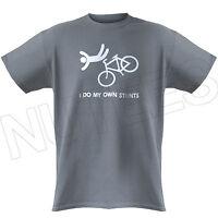 I Do My Own Stunts Funny Bike, Clumsy, Mens Ladies Kids T-Shirts Vest S-XXL