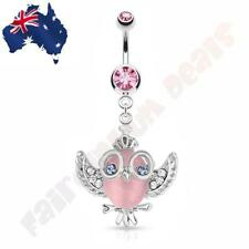 Pink CZ Gem Belly Ring Cats Eye Owl with CZ Gem Wings, Crown & Glasses Dangle