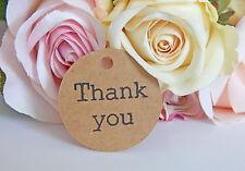 100 x Bulk Kraft brown Thank you Wedding typewriter font gift tags! Vintage look