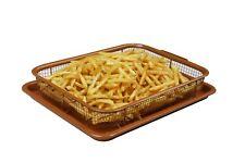 Deluxe Nonstick 2-Piece Red Copper Crisper Oven Air Fryer Pan / Tray Mesh Basket