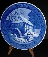 "Vintage 1976 Royal Copenhagen Porcelain Christmas Plate ""Vibaek Water-Mill"""