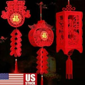 10 Styles Boao 60 Pieces Chinese Decorations New Year Red Hanging Ornaments Knot Pendant Tassel for Spring Festival Party Home Car Tree Wall Garden