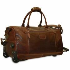 Jack Georges Voyager Wheeled Duffle Bag Brown Genuine Leather 7520