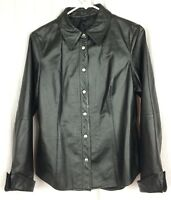 FRENCHI Black Leather Shirt Jacket Snap Closures Size XL Lined