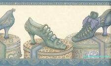 """Vintage Victorian Ladies Shoes on Hatboxes Wallpaper border 7"""" Free Shipping"""