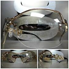 New CONTEMPORARY MODERN SHIELD WRAP Style Clear Lens SUN GLASSES Fashion Frames