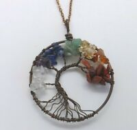 Tree of Life Antiqued Copper Pendant Necklace Artisan Multi-Color Crystal Chakra