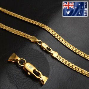 18K Yellow Gold GP 5MM Flat Curb Chain Solid Link Necklace Mens & Womens Gift