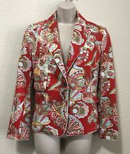 Women's Les Copains Red Paisley Colorful Blazer Jacket Size M/L