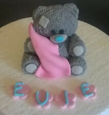 Edible Handmade Me To You (blue nose) style teddy bear cake topper  PERSONALISED