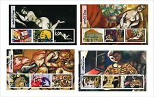 2017  CHAGALL   ART PAINTINGS 8 SOUVENIR SHEETS MNH UNPERFORATED