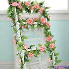 2.4m Silk Rose Flower Ivy Vine Leaf Garland Wedding Party Decor Multicolor