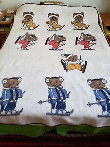 Biederlack Reversible Blanket Skiing Teddy Bears Cream Brown Throw 52 x 75