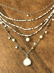 Silpada N1673 Jasper Coral Pearl Sterling Silver MOP Tier Strands White Necklace
