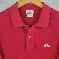LACOSTE Size 6 Large Polo Shirt Long Sleeve Cranberry Pique Pima Cotton Golf Men