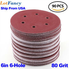 90PCS 6inch 80 Grit Sanding Discs Hook Loop Orbit Sander Sandpaper Pads Sheets