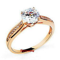 Rose Gold Filled Brilliant Cut Engagement Ring Made With Swarovski Crystal SR120