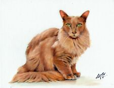 Original Oil Portrait Painting Cinnamon Angora Artist Signed Artwork Cat Kitten