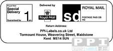 250 Royal Mail SPECIAL DELIVERY 1PM PPI Labels Ret Addr SD-1PM-14 A4 Sheets/14s