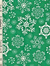 Michael Miller Christmas Green Snow Crystals Fabric bty