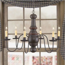 Spun Hardwood Maple Glenn 6 arm Chandelier in Yankee Colors hand Crafted NEW