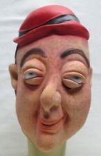 Vintage Topstone Halloween Mask Chubby Freckled Boy Bulging Eyes Fat Man Red Hat