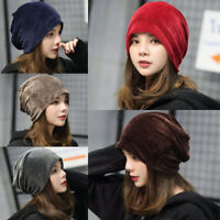 UK Women Ladies Velvet Winter Warm Slouch Beanie Ski Hip Hop Hat Cap Oversized