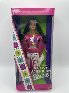 Mattel 1994 Native American Barbie 3rd Edition Dolls of the World Pink #12699