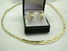 Vintage Lovely Heavy Quality 14 Carat Gold Greek Key Design Necklace & Earrings