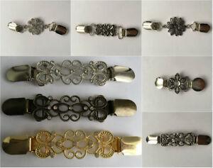 Vintage Filigree Cardigan Clips Shawl Shrug Sweater Blouse Collar Clasps Chain