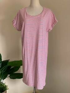 | TARGET | Womens White/Red Stripe T-Shirt Dress | Rolled Short Sleeve | Size XL