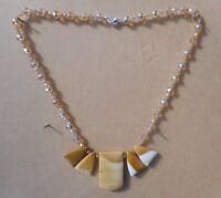 "Mookaite Jasper  5 large Pendants Rondelle Crystal Beads  19"" long .  Necklace"