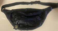 BUXTON BLACK CASHMERE LAMBSKIN LEATHER PATCHWORK BELT BAG FANNY PACK