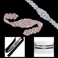 Rhinestone Crystal Lace Motif Pearl Diamante Applique for Wedding Bridal Dress