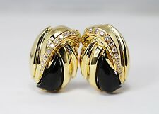 Quality F/VS Diamond Onyx High Fashion Earrings 18k Yellow Gold .50ctw 20 Grams