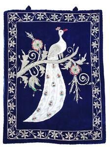 Rugs Jewel Carpet Wall Hanging Peacock 1½' X 2' Hand Embroidery Zardozi Gift