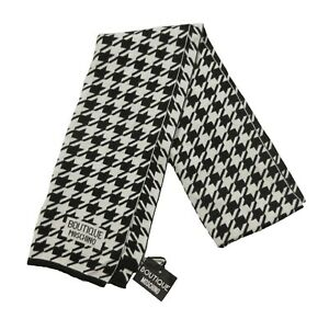Boutique Moschino BlackWhite Houndstooth Print Logo Wool Cashmere Blend Scarf
