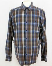 "WRANGLER SHIRT Long-Sleeve Brown/Blue/White Check Size L/Collar 17"" 273"