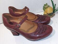 Earthies Mary Jane Pumps Shipley Merlot  Leather Heels Womens Size 6.5 B