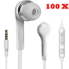 100 pcs Handsfree Wired Headphones Earphones Earbud with Mic-White For Samsung
