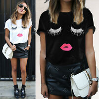 Women Ruffle Printed Short Sleeve T Shirt Lady Casual Crew Neck Blouse Tee Tops