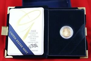 2008 American Gold Eagle PROOF $5 Gold Coin - 1/10th OZ