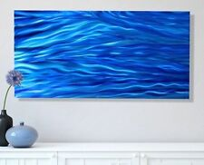 Large Blue Abstract Metal Wall Art Painting - Contemporary Decor by Jon Allen